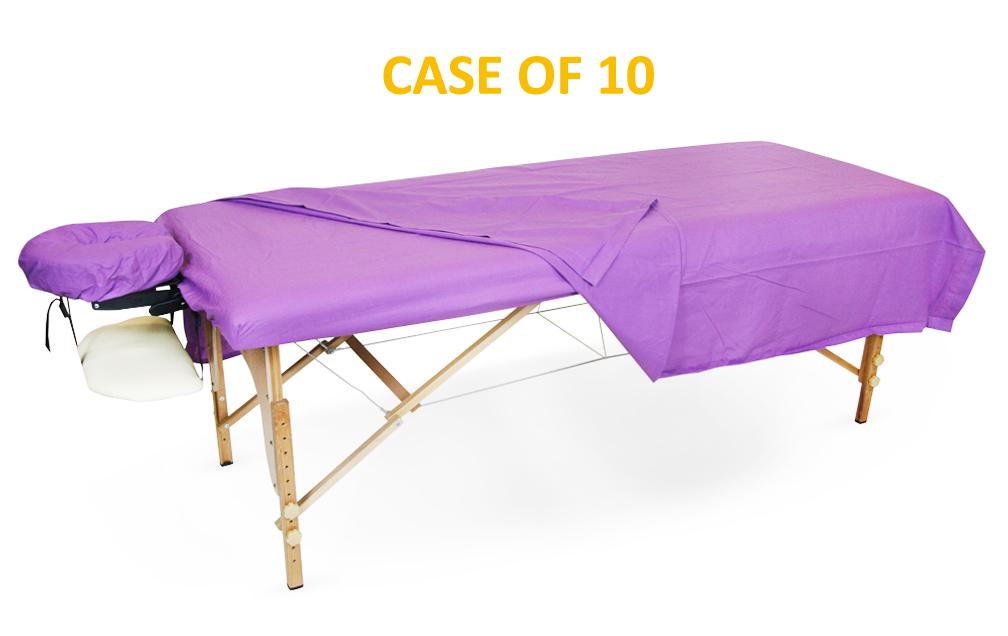 BodyChoice 3-Pc Poly-Cotton Sheet Set - Lavender - Case of 10