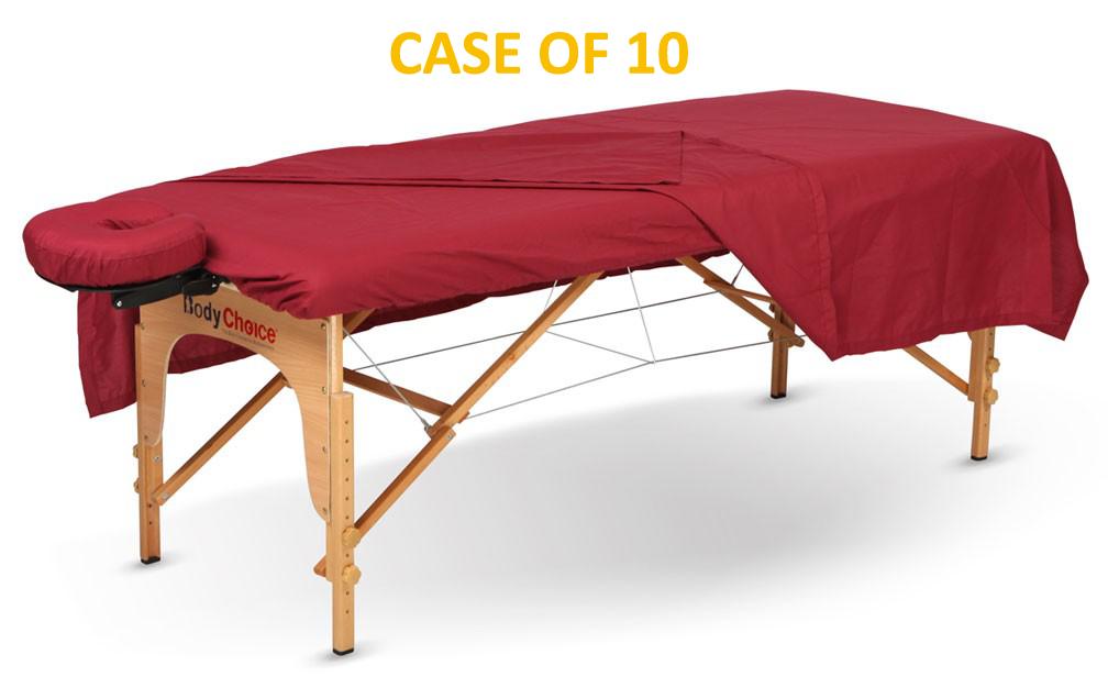 BodyChoice 3-Pc Poly-Cotton Sheet Set - Burgundy - Case of 10