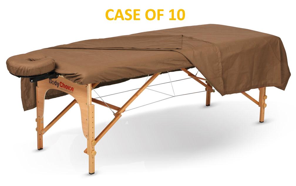 BodyChoice 3-Pc Poly-Cotton Sheet Set - Chocolate - Case of 10